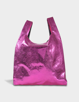 MM6 MAISON MARGIELA Shopper Bag in Pink Snake Lame Print on Synthetic Leather