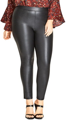 City Chic Asha Wet Look Leggings