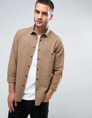 Asos Overshirt With Poppers In Khaki