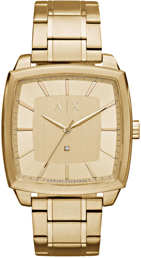 Armani Exchange  A|X Armani Exchange Men's Diamond Accent Gold-Tone Stainless Steel Bracelet Watch 40x40mm AX2364