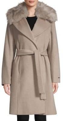 Tahari Fiona Faux Fur-Trimmed Wrap Coat