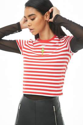 Forever 21 The Grinch Striped Graphic Tee