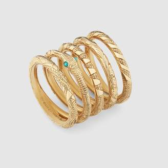 Gucci Five band Ouroboros ring in yellow gold