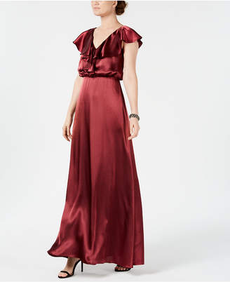 Adrianna Papell V-Neck Ruffled Satin Gown