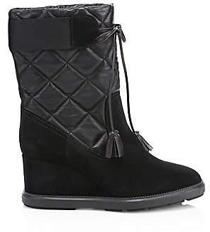 Aquatalia by Marvin K Women's Caliana Quilted Leather& Suede Wedge Booties