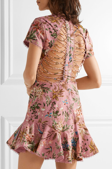 Zimmermann - Tropicale Open-back Printed Linen And Cotton-blend Mini Dress - Baby pink 5