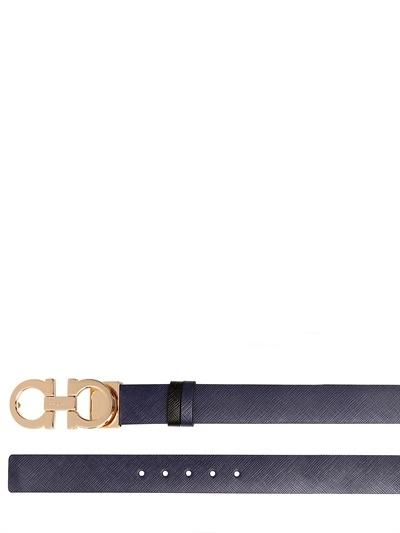 Salvatore Ferragamo 2.5cm Reversible Saffiano Leather Belt