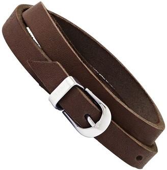 Steel By Design Stainless Steel Brown Leather Buckle Bracelet