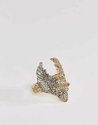 Sacred Hawk oversized hawk ring