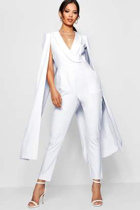 boohoo Cape Woven Tailored Jumpsuit