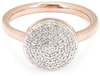 Monica Vinader Rose Gold Vermeil Fiji Large Diamond Button Stacking Ring