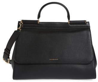 Dolce & Gabbana Medium Miss Sicily Soft Calfskin Leather Top Handle Satchel