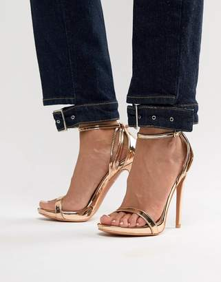 Barely There Lost Ink Rose Gold Stiletto Sandals