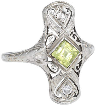 One Kings Lane Vintage Art Deco Peridot Diamond Ring - Precious & Rare Pieces