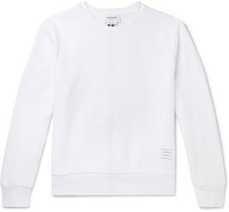 Thom Browne Stripe-Trimmed Loopback Cotton-Jersey Sweatshirt - Men - White