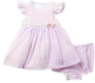 Laura Ashley Seersucker Stripe Dress (Baby Girls)