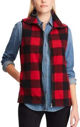 Chaps Petite Plaid Fleece Vest