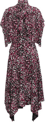 Roberto Cavalli Pussy-bow Printed Silk Crepe De Chine Midi Dress