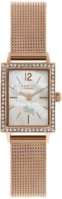 Radley London Rose Gold Mesh Primrose Hill watch with rose gold casing ladies watch