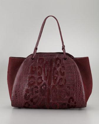 Nancy Gonzalez Calf Hair Spotted Crocodile Tote Bag, Burgundy