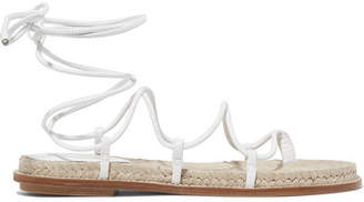 Paul Andrew Wrap It Up Leather Espadrille Sandals - White