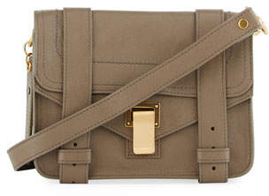 Proenza Schouler PS1 Mini Leather Crossbody Bag, Smoke