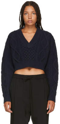 3.1 Phillip Lim Navy Aran Cable Knit Back Ties Sweater