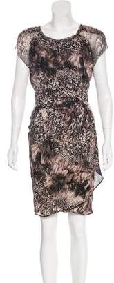 Of Two Minds Silk Feather Print Dress