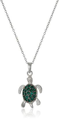 "Swarovski Sterling Silver Emerald Turtle Pendant Necklace Made with Crystal (18"")"