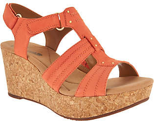 Clarks Leather Triple Adjust Wedge Sandals -Annadel Orchid