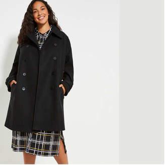 Joe Fresh Women+ Wool Blend Trench, Black (Size 3X)
