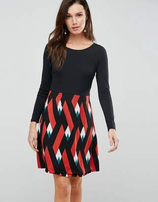 Traffic People Double Take Dress With Graphic Print Skirt