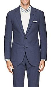 P. Johnson Men's Cotton Seersucker Two-Button Sportcoat - Blue