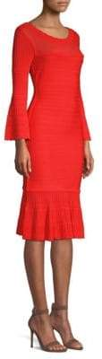 Herve Leger Knit Long-Sleeve Flounce Dress