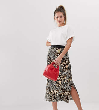 New Look midi skirt with plisse in leopard print