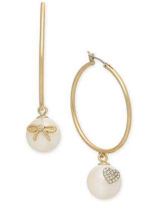 Kate Spade Gold-Tone Pave & Imitation Pearl Hoop Earrings