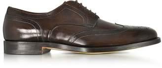 Santoni Wilson Dark Brown Leather Wingtip Derby Shoes