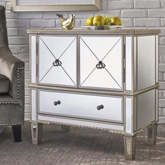 Noble House Beckett Mirrored 3 Drawer Cabinet With Faux Wood Frame, Silver