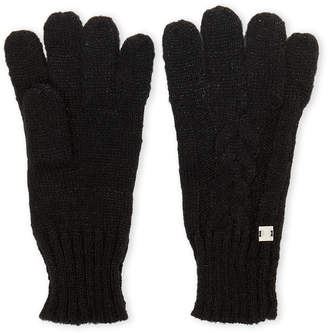 Laundry by Shelli Segal Black Cable Knit Gloves