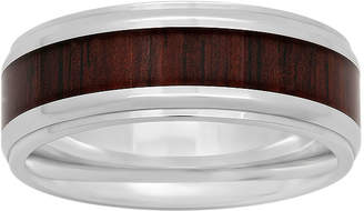 JCPenney MODERN BRIDE Mens Stainless Steel Inlay 8mm Comfort Fit Wedding Band