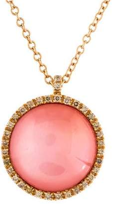Mother of Pearl Roberto Marroni 18K Quartz, Mother of Pearl, Carnelian Triplet & Diamond Pendant Necklace