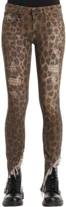 R 13 Kate Skinny Leopard Printed Denim Jeans