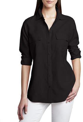 Go Silk Safari Long-Sleeve Silk Shirt, Plus Size