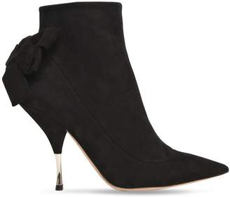 Rochas 100mm Bow Suede Ankle Boots
