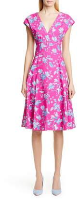 Carolina Herrera Leaf Print Stretch Cotton Dress