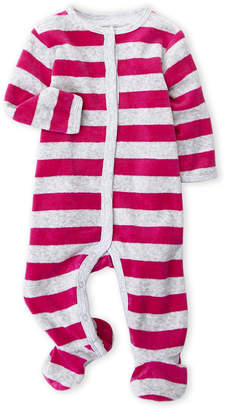 Petit Lem Newborn Girls) Stripe Fleece Footie
