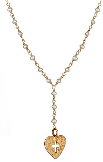 Flying Lizard Cross-Detailed Heart Y-Necklace