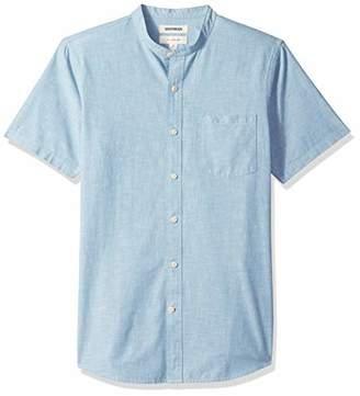 Goodthreads Men's Slim-Fit Short-Sleeve Band-Collar Chambray Shirt