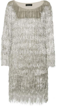 Rachel Zoe Ballina Metallic Fringed Mini Dress - Silver