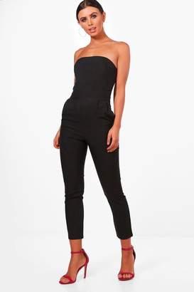 e2b4ef833511 boohoo Petite Bandeau Tailored Jumpsuit
